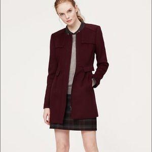 Loft Collarless Wool Car Coat